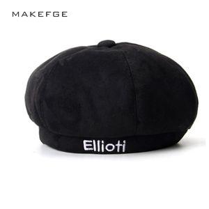 2018 NEW  beret Hat Winter Hats For Women Men Painter Newsboy Cap Mens Vintage Beret Female Black Boinas England Style Hat