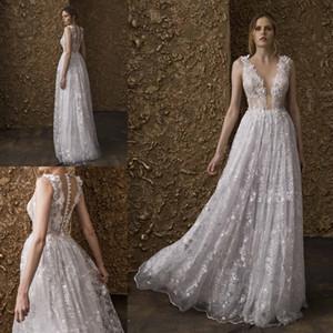 Nurit Hen A Line Vestidos de novia de encaje Con cuello en v Hasta el suelo Vestidos de novia con apliques de talla grande Vestido de novia Boho Wedding Dres