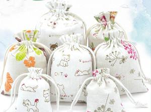3sizes الأزهار الأصلي الكتان حقيبة الرباط الزفاف الزفاف أكياس الهدية أكياس مجوهرات صغيرة الكيس أكياس الجوت مصغرة