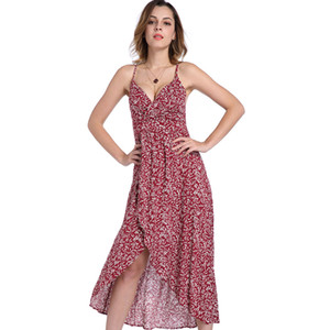 2018 Summer Newest Women's Cocktail Party Beach Sexy Deep V Neck Backless Floral Print Dress Split Long Dress