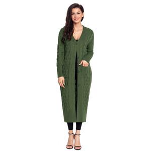 Womens Open Front Button Down Cardigan lungo Maxi lavorato a maglia casual con tasche Camicia Cardigan lavorato a maglia femminile
