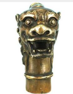 WBY 715 +++ laiton asiatique chinois ancien sculpté à la main Statue de Dragon Collection Bronze bâton de marche Tête