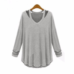 2018 осень женщины футболки Мода без бретелек висит шеи футболки Женщины Повседневная с длинными рукавами V-образным вырезом топ футболка для Интернет