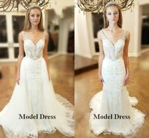 Luxury Mermaid Wedding Dresses with Detachable Train V Neck Lace Appliques Beading Crystals Modest Bridal Gowns Fashionable vestido de novia