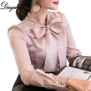 DINAOZLZ Yeni Yay Dikiş Şifon Bluz Zarif Kadın Uzun Kollu Şifon Gömlek Moda CSAUE Giyim Kadın Üstleri