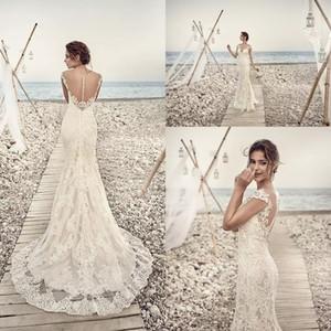 2018 robes de mariée sirène Eddy K Aires appliques dentelle magnifique cou pure et dos capuchon Vintage dentelle robes de mariée sur mesure