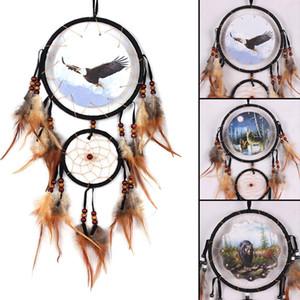 Adler Bär Wolf Design handgemachte Traumfänger mit Federn Tiermuster Auto Wandbehang Dekorationen Ornament DreamCatcher