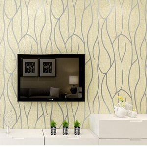 Modern 3D Embossing Deerskin line 3D Flocking Wall paper For Bedroom Living Room Home Decoration 3D WallPaper roll