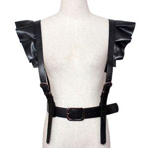 2017 caliente nueva Personalidad Hombros Sexy Belt Faux Leather Body Bondage Corset Hembra Arnés Cintura Cinturón Correas Ligas