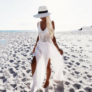 Vestido de playa de patchwork de gasa de ganchillo 2018 borlas Playa de ganchillo de playa de crochet de Saida De Praia