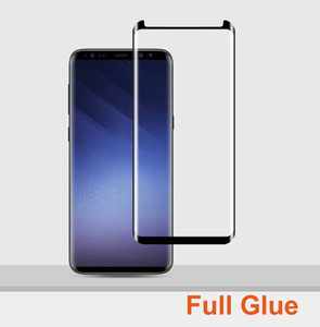 5D Full Glue Case Friendly Glass Tempered Protector de pantalla adhesivo completo para Samsung Galaxy S9 + S8 Plus Note 8 9 NO paquete
