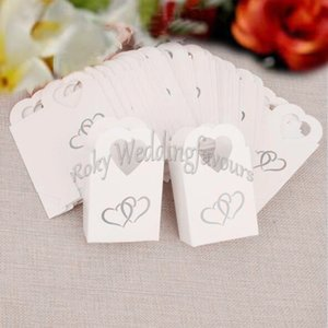 100PCS Heart Handle Favors Boxes Wedding Favors Bridal Shower Candy Box Favors Holder Engagement Gift Bags Event Party Supplies