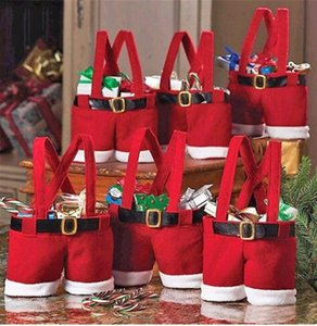 Newest Santa Pants Candy Bag Christmas Decorations for Home Xmas Sack Cute Children Gift Wedding Present