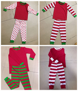 INS XMAS Natal NOVO DOT Faixa Família Combinando Pijama Conjuntos de PJS PAIZINHO MAMÃES CRIANÇAS VERDE VERMELHO LISTRADO Pijamas Roupa de Dormir Tops calças roupas