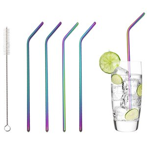 """26.5cm 10.5"""" Rainbow Color Stainless Steel Straw Set Mirror Polished Sucker Beverages Curved Straw Drinks Straight Straw 4pc Set"""