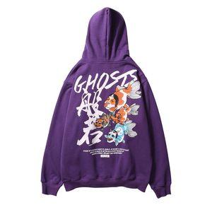 Japaner Ukiyo E Ghosts Printed Fleece Pullover Herren-Winter-Japan-Art-beiläufige Street Hip Hop Pullove Hoodie