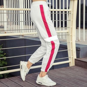 2018 new women's loose large size fitness yoga trousers quick-drying breathable reflective strip fashion sports pants beam feet