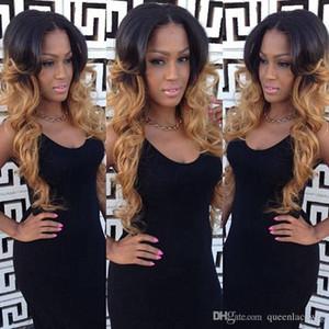 Haute Qualité Ombre Perruques 1B / 27 # BlackBlond Longue Bouclés Corps Ondulés Dentelle Avant Perruques Résistant À La Chaleur Synthétique Synthétique Avant de Lacet Perruques pour Les Femmes Noires