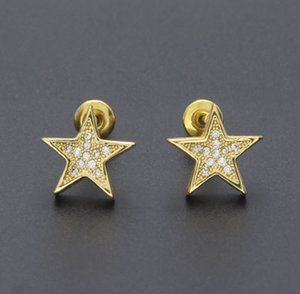 Joyas para hombre hip hop bling bling forma de pentagrama aretes de circonio estilo europeo y americano pendientes de cobre estilo hiphop accesorios