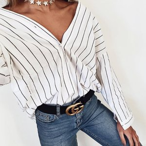2018 New summer fashion women loose shirts Beach casual Loose V neck stripes print bat sleeves blouses long sleeved tops