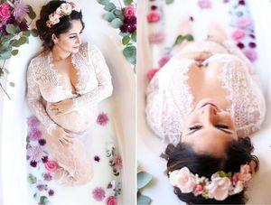 Embarazo de maternidad Vestido de encaje blanco Vestido de baño de leche Para sesión de fotos Maxi Long Fotografía Sesión fotográfica Vestido vintage transparente