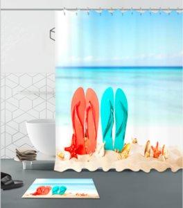 Ciabatte Sweetheart modello 3D Stampa personalizzato impermeabile bagno moderno tenda da doccia in poliestere tessuto bagno tenda zerbino set