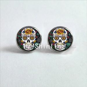 NES-0010 boucles d'oreilles en sucre de crâne de sucre boucles d'oreilles en sucre de crâne de sucre coloré bijoux cabochon en verre à la main HZ4
