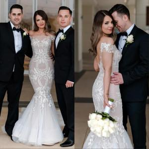2018 Elegante Bateau Neck Off The Shoulder Lace Mermaid Wedding Dresses Tulle Applique Sweep Train Wedding Vestidos de novia