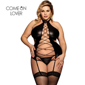Comeonlover Fantezi ben Giyim Hollow Out Bandaj Nuisette Femme Seksi Egzotik Seksi Noel Faux Deri Lingerie Kostüm RI80467 Y18102206