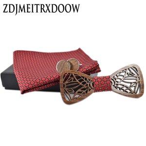 hölzerne Fliege groß und Taschentuch Fliege Krawatte Cravate Homme Noeud Papillon Man Corbatas Hombre Pajarita