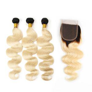 El pelo brasileño rubio de Virgin Ombre teje paquetes del pelo humano con el cierre del cordón Onda del cuerpo Ombre recto 613 Extensiones del pelo humano