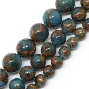 8mm Natural Lake Blue Cloisonne Stone Round Loose Beads For Jewelry Making 6 8 10 mm Pick Size 15inches DIY Necklace