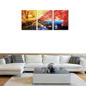 3 Panels Autumn Maples Forest and Beautiful Lake Landscape Picture Wall Art Canvas Painting Artworks for Home Decor Wooden Framed to Hang