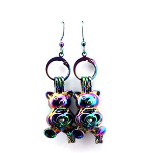 Z290 Rainbow Color Cute Bijou Bear Pearl Cage Earrings Hooks with 8mm Plastic Beads Girl's Gift
