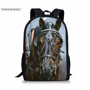 vendita all'ingrosso Nero War Horse 3D Zaino stampa per ragazzi Adolescenti Scuola Sacchetti posteriori Cool Kids Capacità Pack Studente universitario