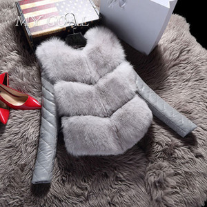 Atacado-Mulheres Casacos Colete Moda Outono Casaco de Inverno Quente Feminino Faux Fox Fur Vest High-Grade Fino Casaco Outerwear Preto Cinza