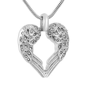 Bir Sevilen Keepsaker Memorial Jewellery Ashes için IJD9777 Kristal Kakma Melek Kanadı Kalp Paslanmaz Çelik Ölü Yakma kolye