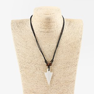 DropShipping 12 Pcs Imitation Yak Bone Large Arrow Shark Tooth Teeth Pendant Necklace Surfer Necklace Adjustable Gift