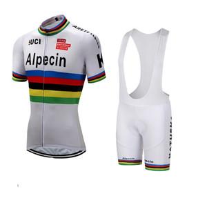 2018 KATUSHA ALPECIN PRO TEAM UCI BIANCO MANICHE CORTE CYCLING JERSEY ESTATE CYCLING WEAR ROPA CICLISMO + BIB SHORTS 3D GEL PAD SET TAGLIA: XS-4XL