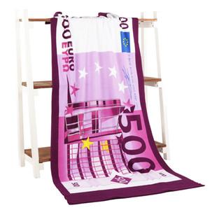 Euro Money Bath Towel Microfiber Printing Activity Actividad Toalla de playa Hair Super Soft Water 70 * 140 cm, diseño suave 20, dropshipping