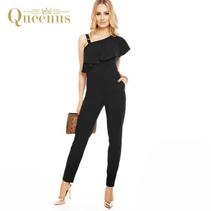 Queenus 2017 Frauen Overalls Elegantes Geschäft Kausalen Falbala Neck Jumpsuit Asymmetrische Hülse Knöchel Länge Schwarze Frauen Strampler