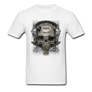 Personalized Skull Headphone2 Tees for Students Dominant Summer Fall Crewneck 100% Cotton Short Sleeve T Shirt Geek Tee Shirt