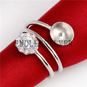Cercle rond serti de montures en argent sterling 925 à base de bande spirale avec zircon cubique scintillant CZ