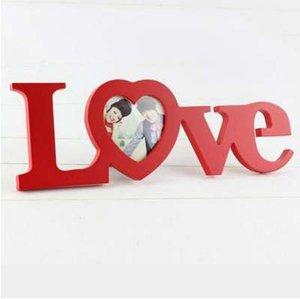 Branco Vermelho Amor Design Decoração de Casamento De Madeira Photo Frame Molduras Para Casa Decoração Presente