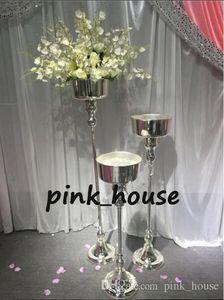 New elegante metal tall sliver cor pilar de casamento carrinho de flor, peças centrais do vaso para a mesa de casamento e decoração do corredor