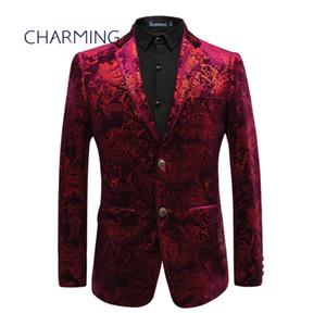 Maroon suit men High-end personalizada tela de terciopelo dorado estampado de diseño de impresión Vestido de caballero Adecuado para cantantes, actores, bailes,