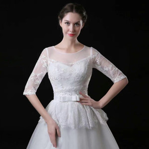 Cheap White Bridal Jackets Jewel Half Sleeves Lace Applique Edge Botton Covered Wedding Accessories Wraps Free Shipping