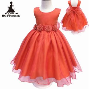 HG Prinzessin 2017 Neue Ankunft Mädchen Kleid 2-10 Jahre Orange Blumenmädchenkleider Für hochzeits Organza Formale kinder abendkleider