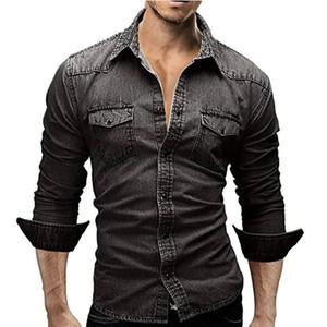 Homens Camisa Casual Denim Macho Camisas de Manga Longa Dos Homens Casuais Camisa Moda Fino Mens Jeans Camisas Plus Size Frete Grátis