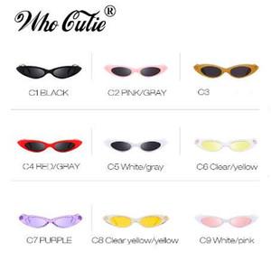 WHO CUTIE Pequeno Oval Óculos De Sol Das Mulheres Olho de Gato Designer de Marca Retro Vintage Cateye Quadro Minúsculo Óculos De Sol Tons 592C